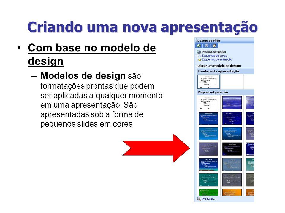 Criando uma nova apresentação Com base no modelo de design –Modelos de design são formatações prontas que podem ser aplicadas a qualquer momento em um