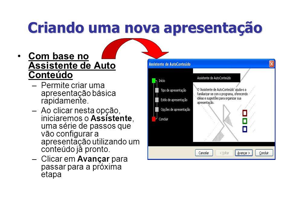 Criando uma nova apresentação Com base no Assistente de Auto Conteúdo –Permite criar uma apresentação básica rapidamente. –Ao clicar nesta opção, inic