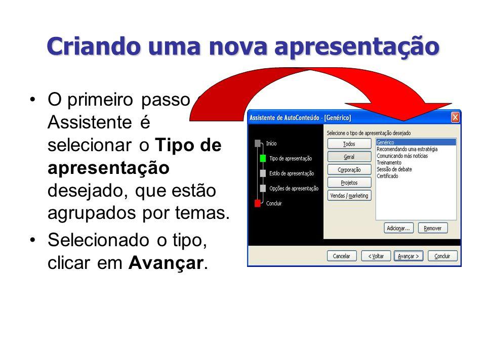 Criando uma nova apresentação O primeiro passo do Assistente é selecionar o Tipo de apresentação desejado, que estão agrupados por temas. Selecionado