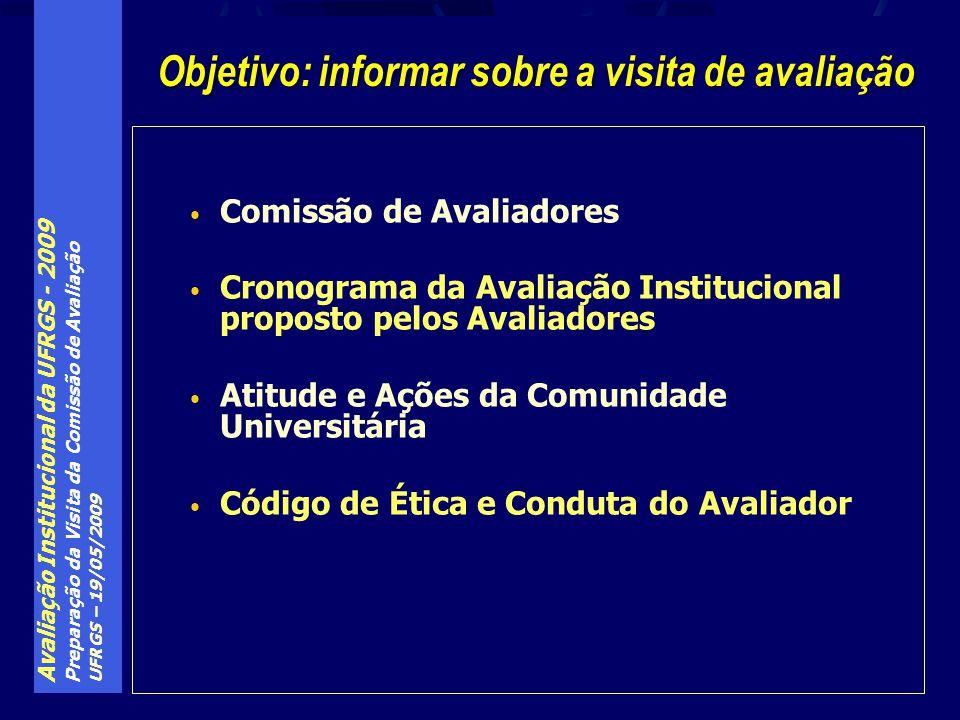 Avaliação Institucional da UFRGS - 2009 Preparação da Visita da Comissão de Avaliação UFRGS – 19/05/2009 Composição da Comissão (3 membros): Prof.