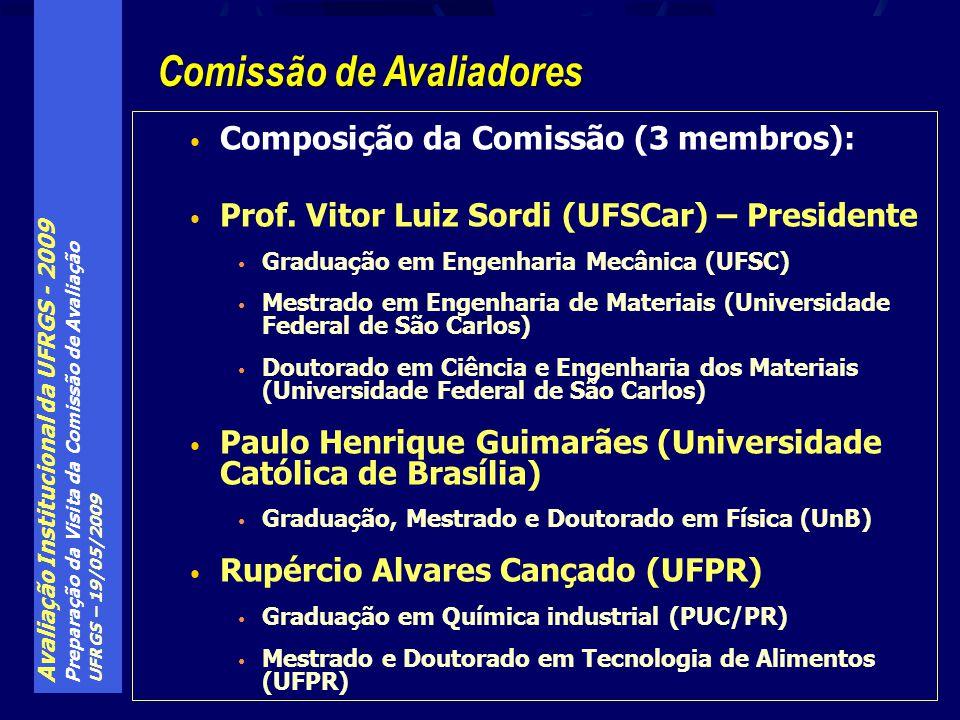 Avaliação Institucional da UFRGS - 2009 Preparação da Visita da Comissão de Avaliação UFRGS – 19/05/2009 Conforme proposto pela Comissão de Avaliadores Domingo, 24/05: Chegada dos avaliadores e reunião interna entre eles no hotel.