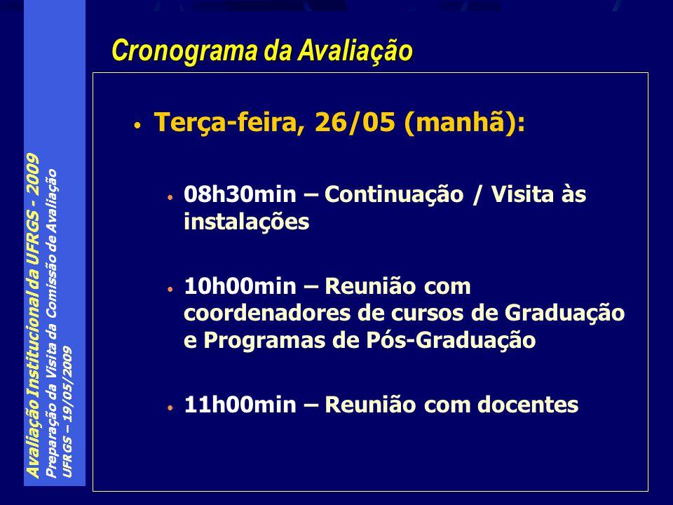 Avaliação Institucional da UFRGS - 2009 Preparação da Visita da Comissão de Avaliação UFRGS – 19/05/2009 Terça-feira, 26/05 (manhã): 08h30min – Continuação / Visita às instalações 10h00min – Reunião com coordenadores de cursos de Graduação e Programas de Pós-Graduação 11h00min – Reunião com docentes Cronograma da Avaliação