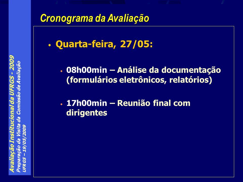 Avaliação Institucional da UFRGS - 2009 Preparação da Visita da Comissão de Avaliação UFRGS – 19/05/2009 Quarta-feira, 27/05: 08h00min – Análise da documentação (formulários eletrônicos, relatórios) 17h00min – Reunião final com dirigentes Cronograma da Avaliação