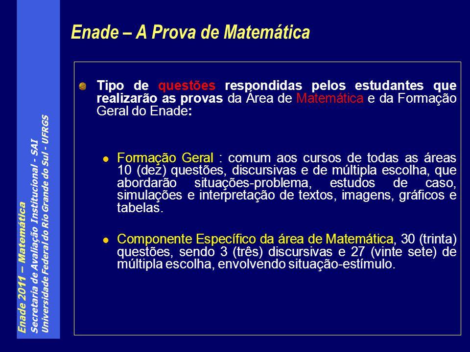 Tipo de questões respondidas pelos estudantes que realizarão as provas da Área de Matemática e da Formação Geral do Enade: Formação Geral : comum aos