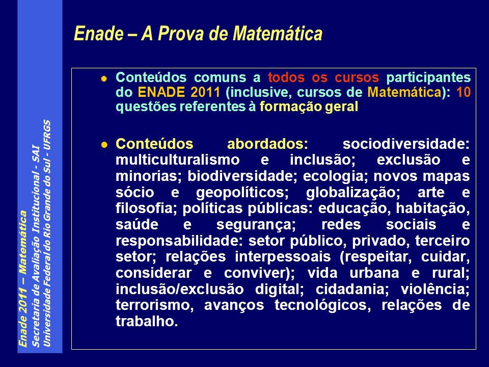 Conteúdos comuns a todos os cursos participantes do ENADE 2011 (inclusive, cursos de Matemática): 10 questões referentes à formação geral Conteúdos ab