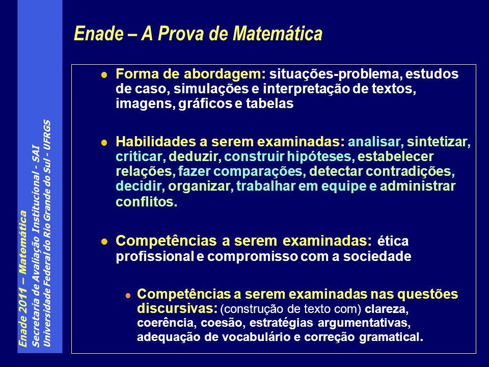 Forma de abordagem: situações-problema, estudos de caso, simulações e interpretação de textos, imagens, gráficos e tabelas Habilidades a serem examina