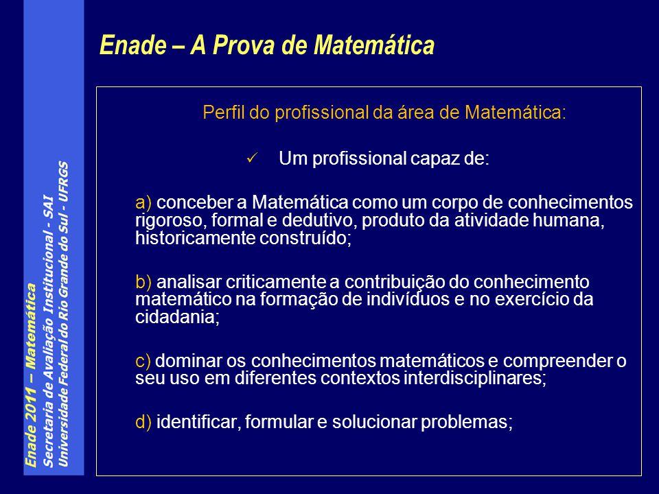 Perfil do profissional da área de Matemática: Um profissional capaz de: a) conceber a Matemática como um corpo de conhecimentos rigoroso, formal e ded