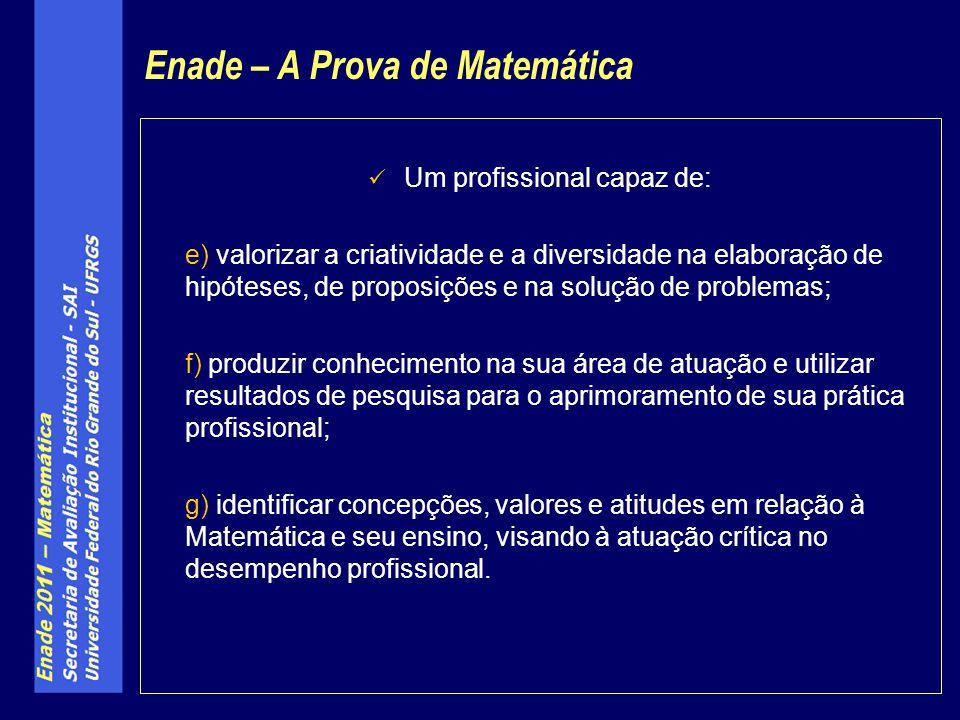 Um profissional capaz de: e) valorizar a criatividade e a diversidade na elaboração de hipóteses, de proposições e na solução de problemas; f) produzi