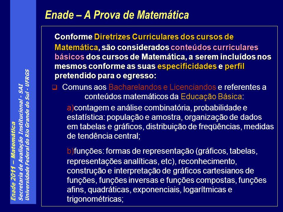 Conforme Diretrizes Curriculares dos cursos de Matemática, são considerados conteúdos curriculares básicos dos cursos de Matemática, a serem incluídos
