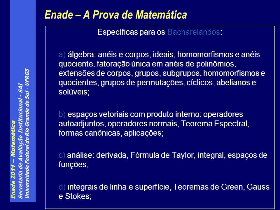 Específicas para os Bacharelandos: a) álgebra: anéis e corpos, ideais, homomorfismos e anéis quociente, fatoração única em anéis de polinômios, extens
