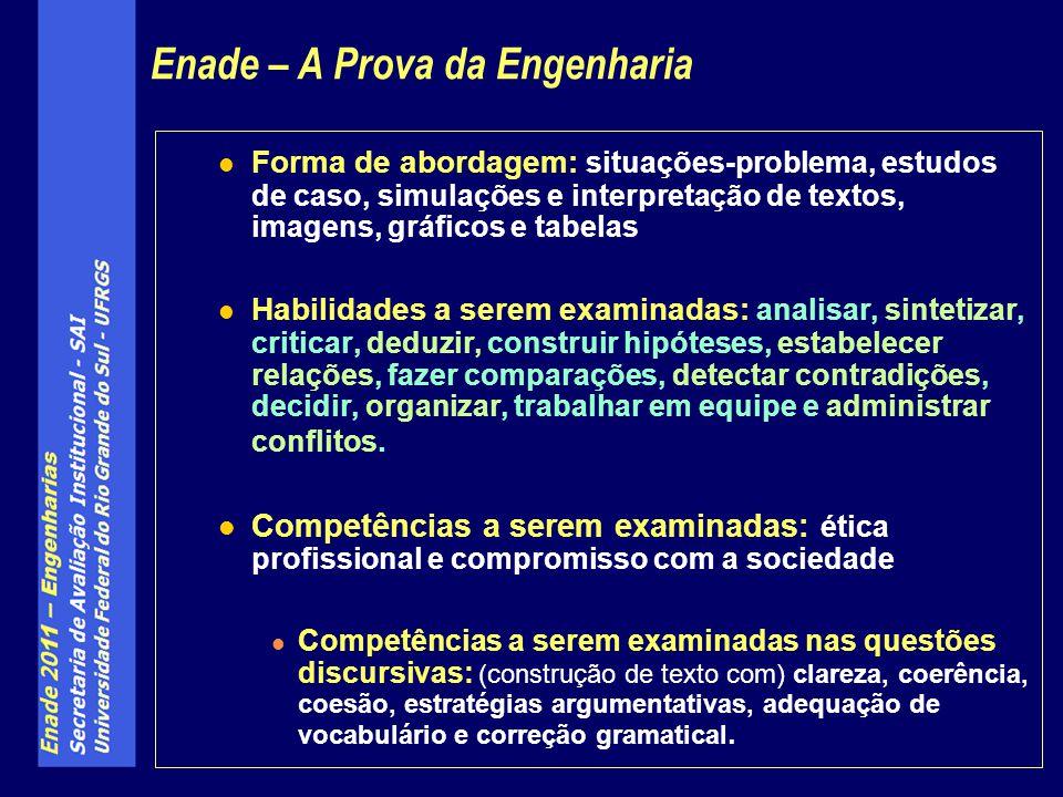 Questões comuns a todos os cursos de Engenharia participantes do ENADE 2011 (exclusivamente, para os cursos de Engenharia dos Grupos I a VII): 10 questões referentes a conhecimentos gerais em Engenharia, conforme diretrizes curriculares das Engenharias (Resolução C.N.E./C.E.S.