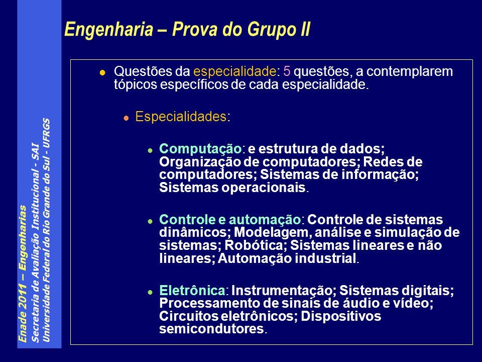 Eletrotécnica : Geração, transmissão e distribuição de energia elétrica; Máquinas elétricas; Modelagem e análise de sistemas de potência; Instalações elétricas; Acionamentos elétricos.