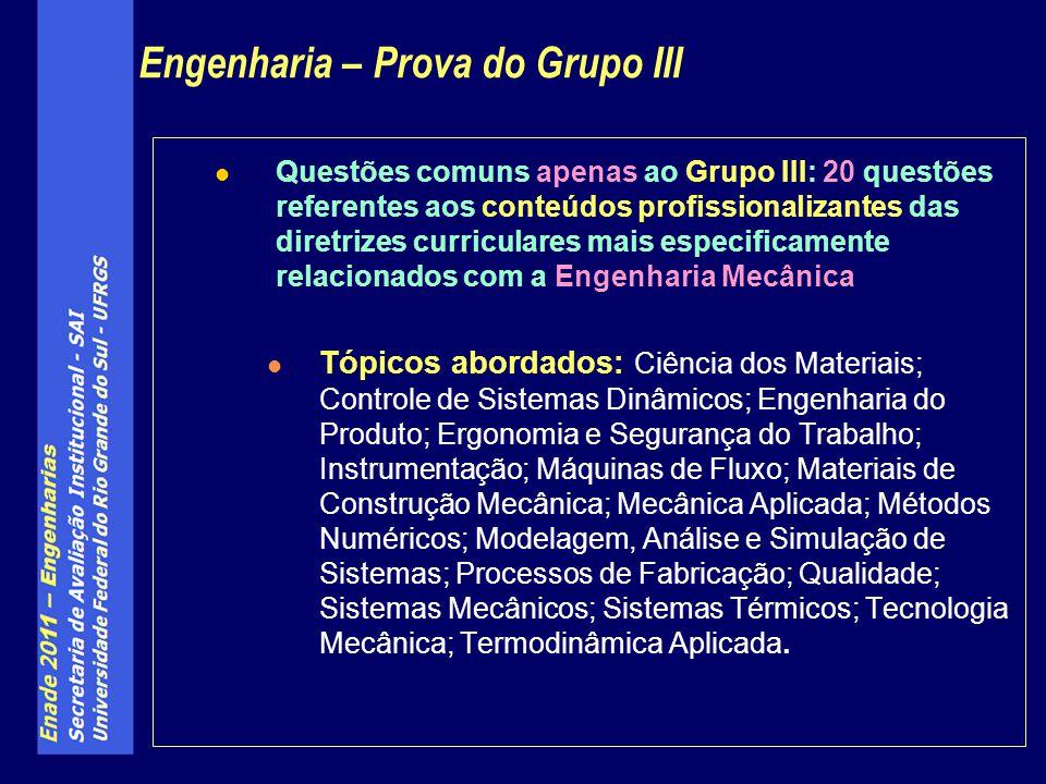 Obs.: (as especialidades não tiveram questões específicas dentro do Grupo III) Industrial Mecânica Industrial Mecânica Aeroespacial Aeroespacial Aeronáutica Aeronáutica Automotiva Automotiva Naval Naval Engenharia – Prova do Grupo III