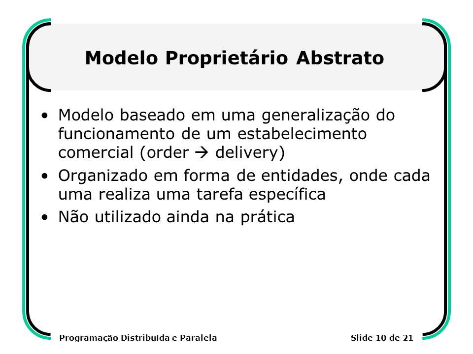 Programação Distribuída e ParalelaSlide 10 de 21 Modelo Proprietário Abstrato Modelo baseado em uma generalização do funcionamento de um estabelecimen