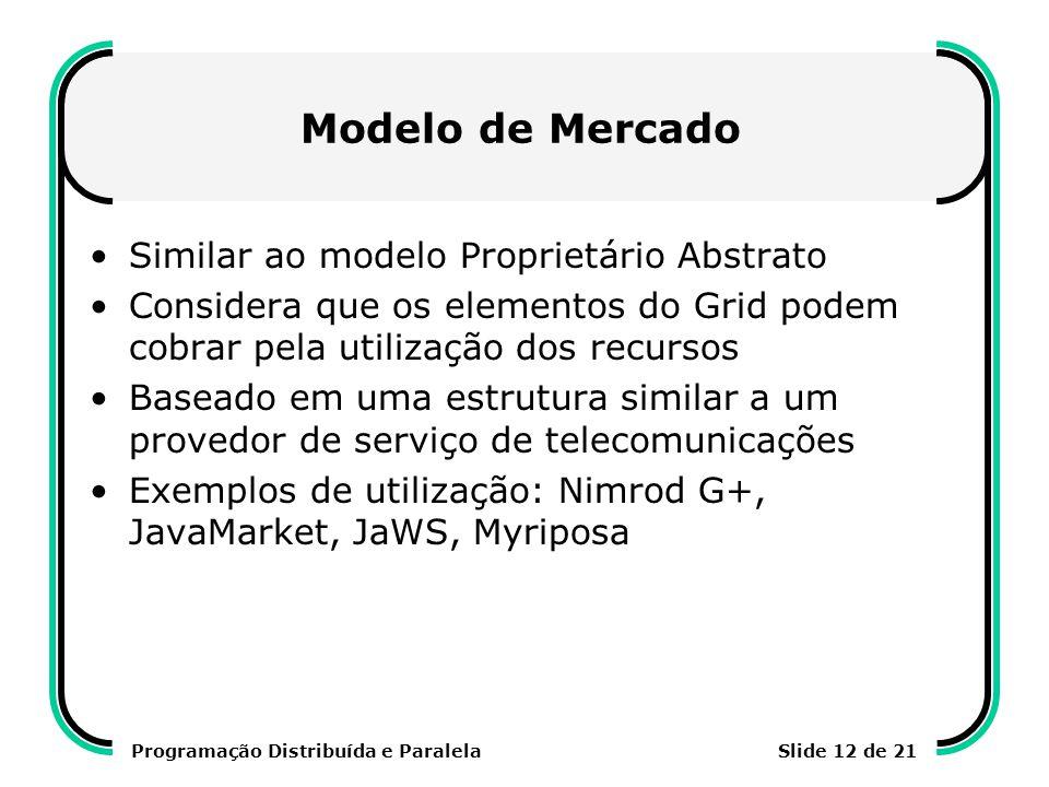 Programação Distribuída e ParalelaSlide 12 de 21 Modelo de Mercado Similar ao modelo Proprietário Abstrato Considera que os elementos do Grid podem co