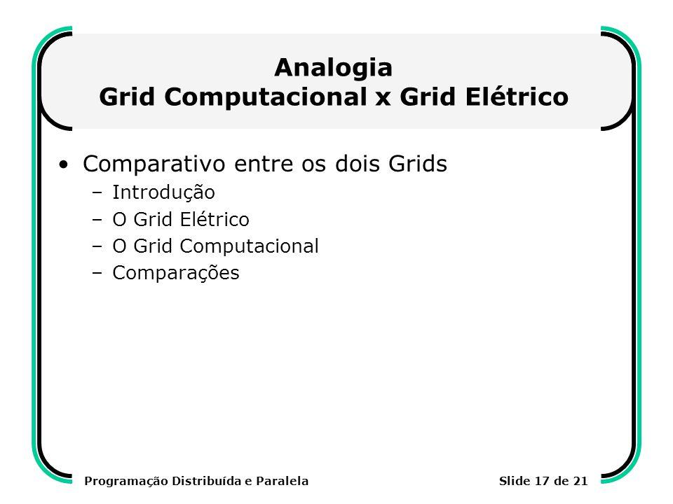 Programação Distribuída e ParalelaSlide 17 de 21 Analogia Grid Computacional x Grid Elétrico Comparativo entre os dois Grids –Introdução –O Grid Elétr