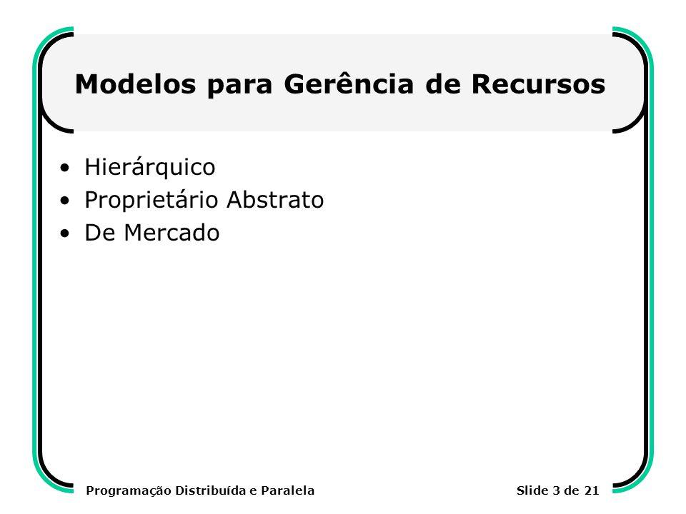 Programação Distribuída e ParalelaSlide 4 de 21 Modelo Hierárquico Proposto pelo GRID FORUM (www.gridforum.org) Modelo baseado em componentes ativos e passivos Exemplos de utilização: Globus, AppLeS, Legion, Ninf