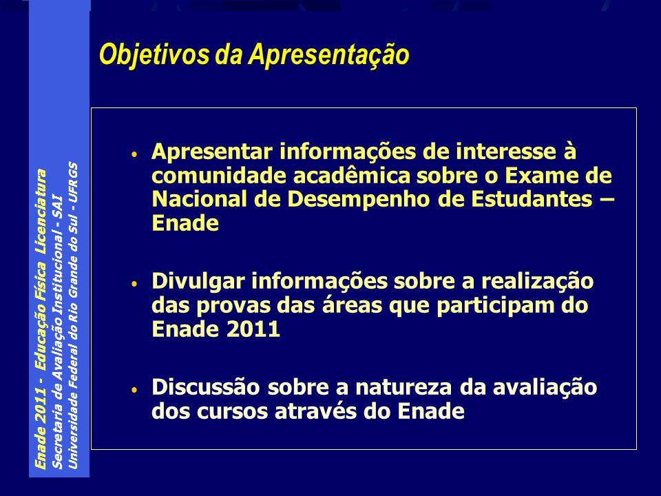 Enade 2011 - Educação Física Licenciatura Secretaria de Avaliação Institucional - SAI Universidade Federal do Rio Grande do Sul - UFRGS Trata-se de uma obrigação de Estado implicitamente prevista na Constituição, pois é função do mesmo zelar pela Qualidade da Educação É também um compromisso de Estado, assumido pelo país diante de organismos internacionais (ONU), atividade afeta ao Sistema Educacional do país Não se trata, portanto, de imposição de Programa de Governo Aplica-se a todos os níveis de Ensino Educação envolve Ensino, Pesquisa e Extensão Os instrumentos de avaliação são definidos em legislação Por que o governo avalia a Educação ?