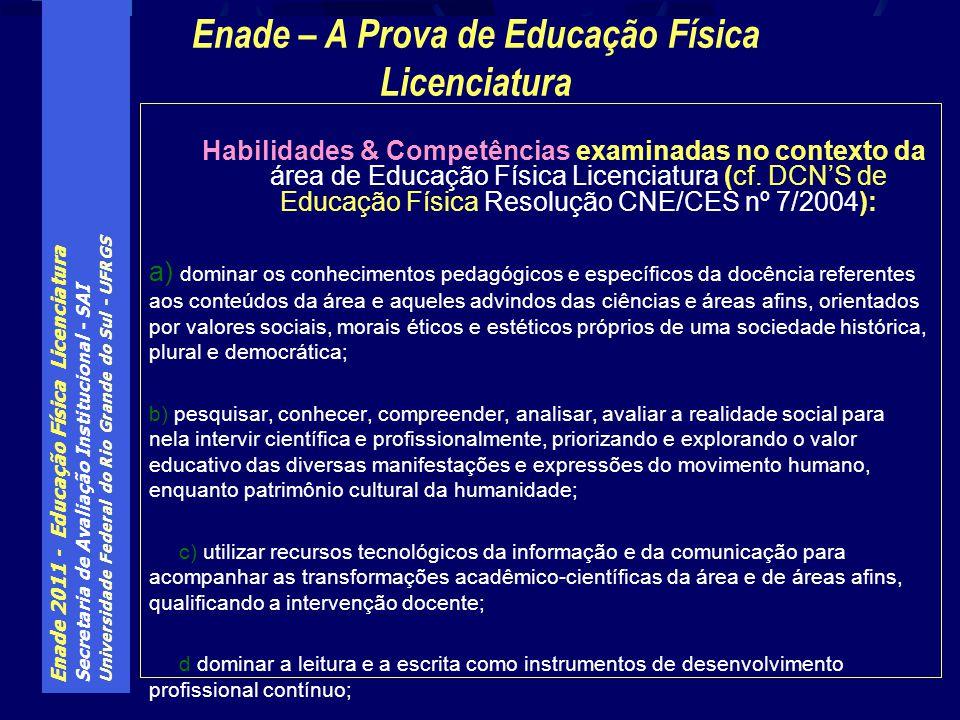Enade 2011 - Educação Física Licenciatura Secretaria de Avaliação Institucional - SAI Universidade Federal do Rio Grande do Sul - UFRGS Habilidades & Competências examinadas no contexto da área de Educação Física Licenciatura (cf.