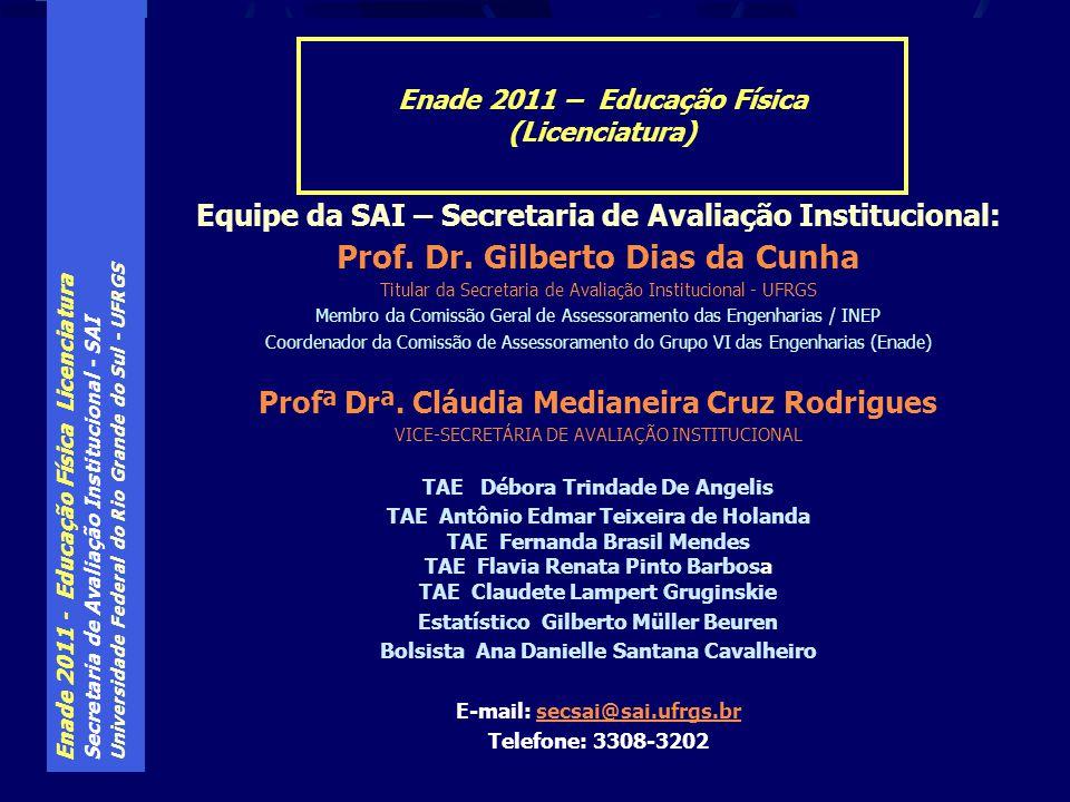Enade 2011 - Educação Física Licenciatura Secretaria de Avaliação Institucional - SAI Universidade Federal do Rio Grande do Sul - UFRGS Equipe da SAI – Secretaria de Avaliação Institucional: Prof.