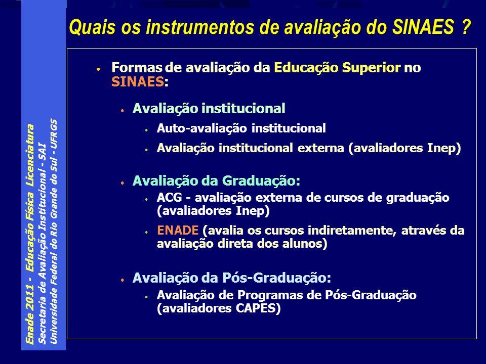 Enade 2011 - Educação Física Licenciatura Secretaria de Avaliação Institucional - SAI Universidade Federal do Rio Grande do Sul - UFRGS Formas de avaliação da Educação Superior no SINAES: Avaliação institucional Auto-avaliação institucional Avaliação institucional externa (avaliadores Inep) Avaliação da Graduação: ACG - avaliação externa de cursos de graduação (avaliadores Inep) ENADE (avalia os cursos indiretamente, através da avaliação direta dos alunos) Avaliação da Pós-Graduação: Avaliação de Programas de Pós-Graduação (avaliadores CAPES) Quais os instrumentos de avaliação do SINAES ?