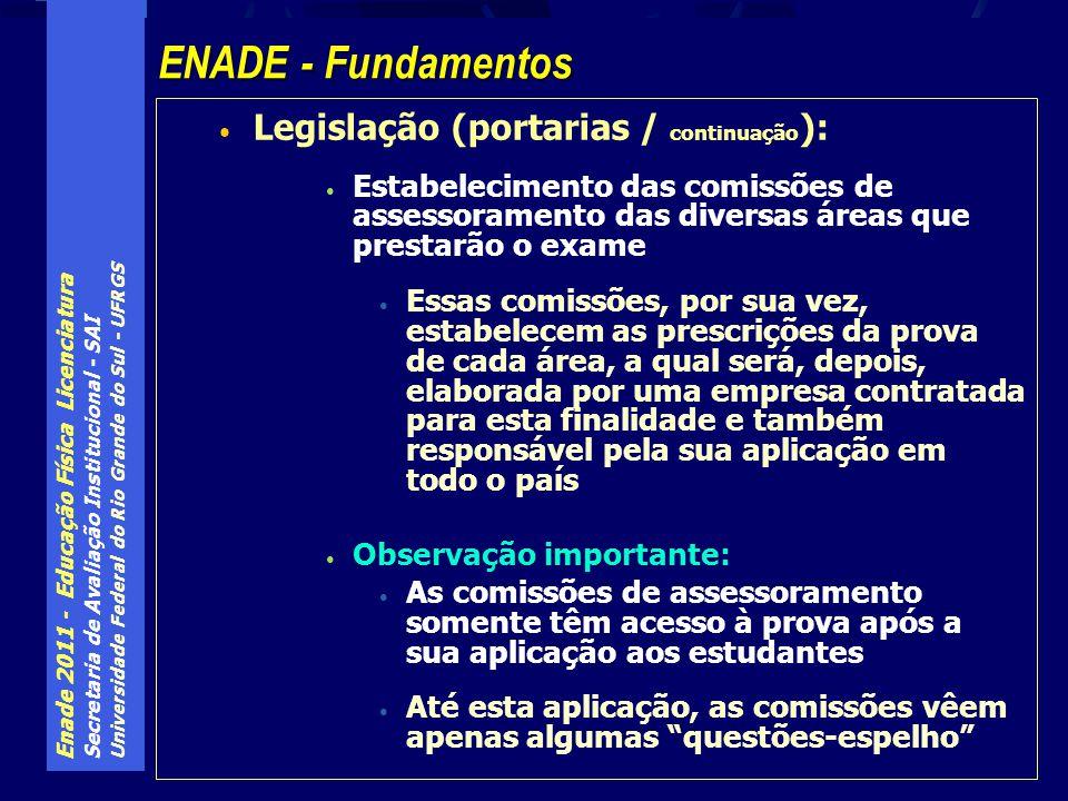 Enade 2011 - Educação Física Licenciatura Secretaria de Avaliação Institucional - SAI Universidade Federal do Rio Grande do Sul - UFRGS O ENADE destina-se a verificar a qualidade dos cursos oferecidos pelas IES do Sistema Federal de Educação Superior.