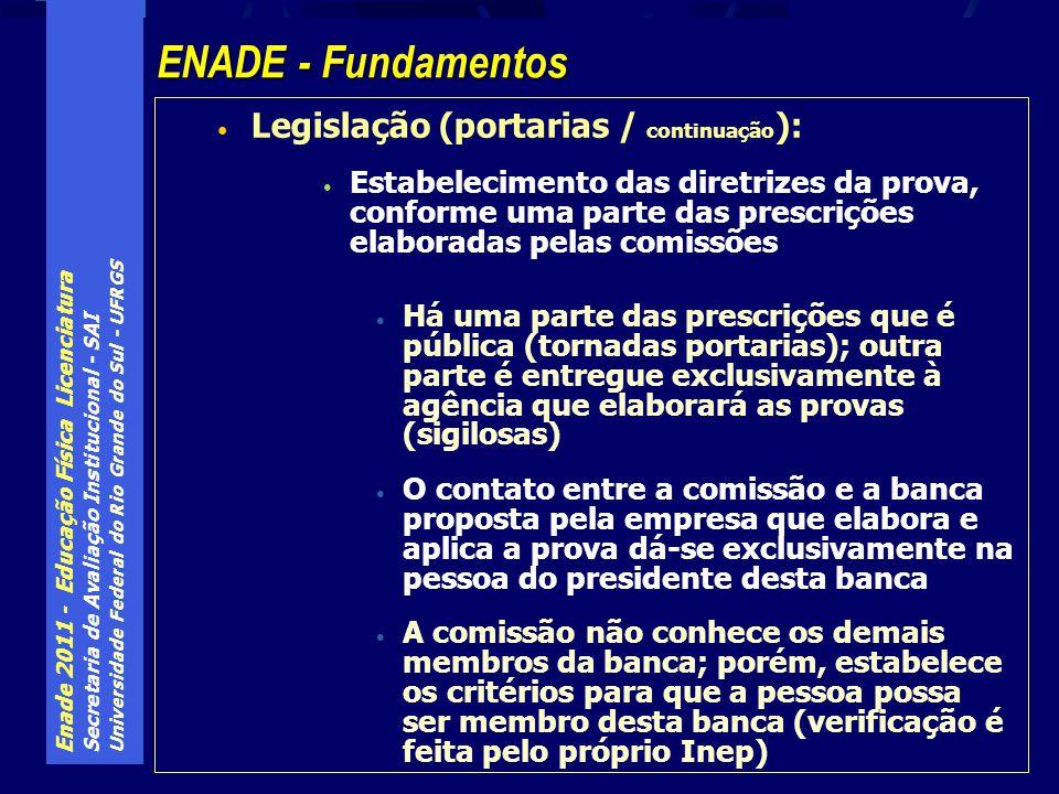 Enade 2011 - Educação Física Licenciatura Secretaria de Avaliação Institucional - SAI Universidade Federal do Rio Grande do Sul - UFRGS Legislação (portarias / continuação ): Estabelecimento das diretrizes da prova, conforme uma parte das prescrições elaboradas pelas comissões Há uma parte das prescrições que é pública (tornadas portarias); outra parte é entregue exclusivamente à agência que elaborará as provas (sigilosas) O contato entre a comissão e a banca proposta pela empresa que elabora e aplica a prova dá-se exclusivamente na pessoa do presidente desta banca A comissão não conhece os demais membros da banca; porém, estabelece os critérios para que a pessoa possa ser membro desta banca (verificação é feita pelo próprio Inep) ENADE - Fundamentos