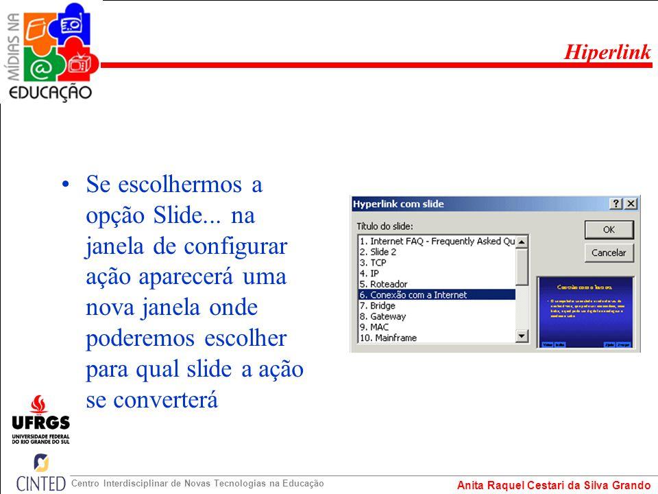 Anita Raquel Cestari da Silva Grando Centro Interdisciplinar de Novas Tecnologias na Educação Se escolhermos a opção Slide... na janela de configurar