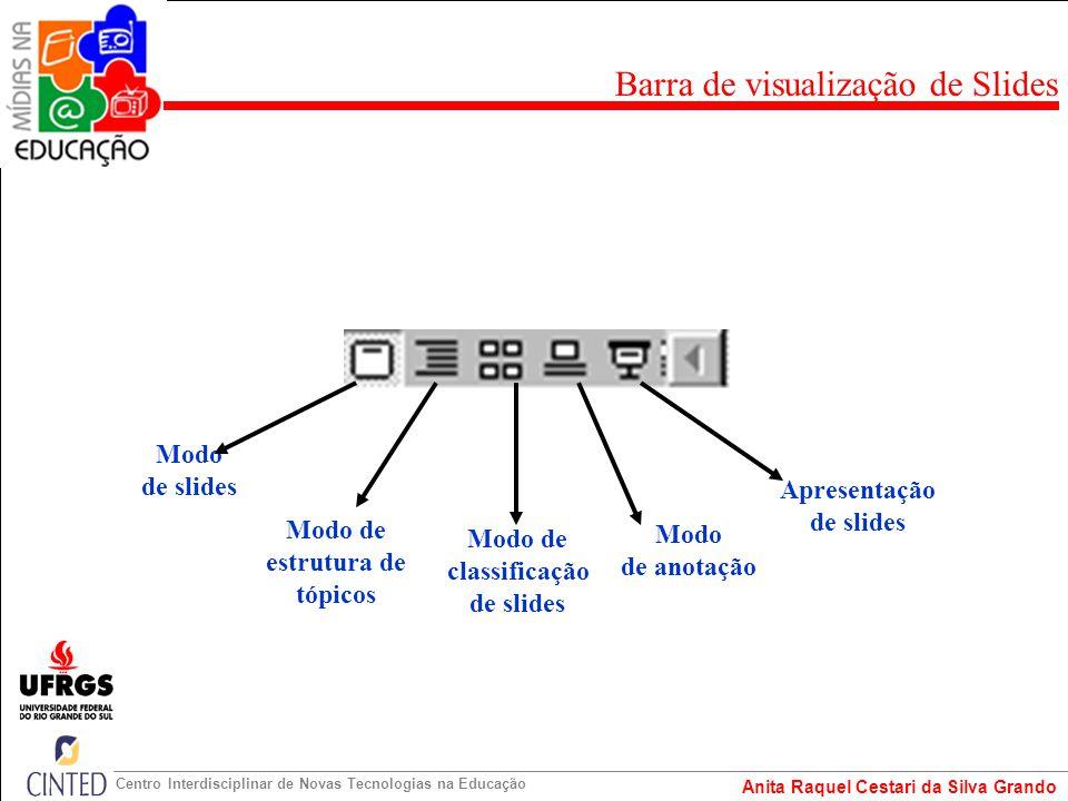 Anita Raquel Cestari da Silva Grando Centro Interdisciplinar de Novas Tecnologias na Educação Modo de slides Modo de estrutura de tópicos Modo de clas