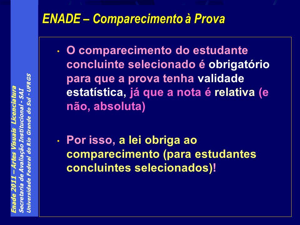 Enade 2011 – Artes Visuais Licenciatura Secretaria de Avaliação Institucional - SAI Universidade Federal do Rio Grande do Sul - UFRGS O comparecimento