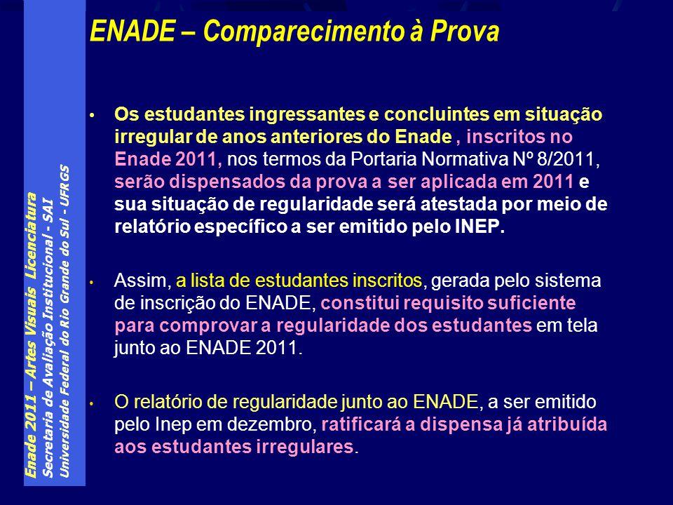Enade 2011 – Artes Visuais Licenciatura Secretaria de Avaliação Institucional - SAI Universidade Federal do Rio Grande do Sul - UFRGS ENADE – Comparec