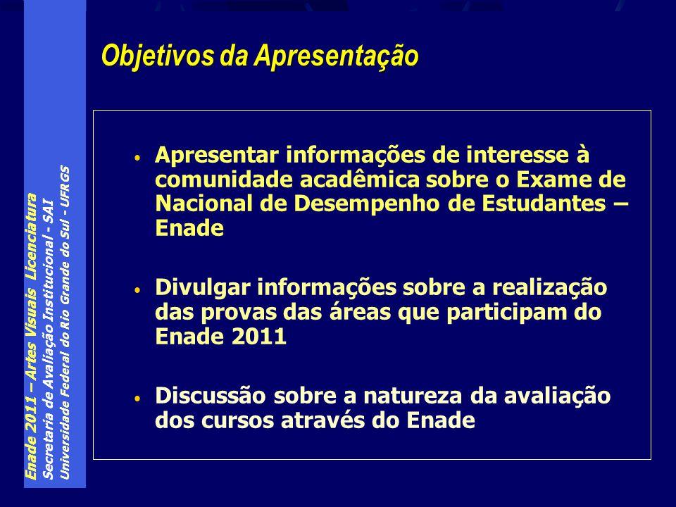Enade 2011 – Artes Visuais Licenciatura Secretaria de Avaliação Institucional - SAI Universidade Federal do Rio Grande do Sul - UFRGS Apresentar infor
