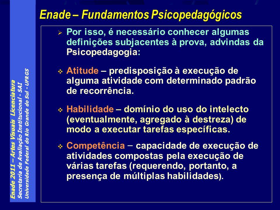 Enade 2011 – Artes Visuais Licenciatura Secretaria de Avaliação Institucional - SAI Universidade Federal do Rio Grande do Sul - UFRGS Por isso, é nece