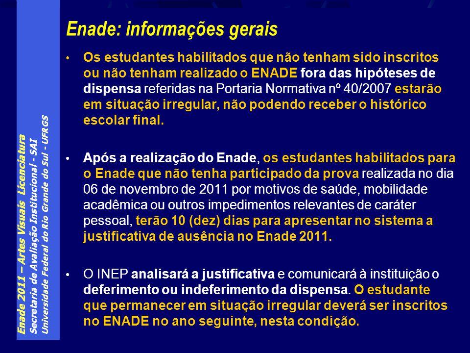 Enade 2011 – Artes Visuais Licenciatura Secretaria de Avaliação Institucional - SAI Universidade Federal do Rio Grande do Sul - UFRGS Enade: informaçõ