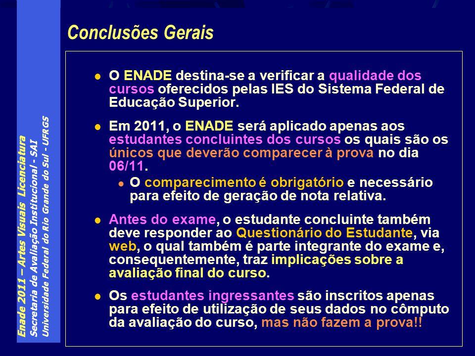 Enade 2011 – Artes Visuais Licenciatura Secretaria de Avaliação Institucional - SAI Universidade Federal do Rio Grande do Sul - UFRGS O ENADE destina-