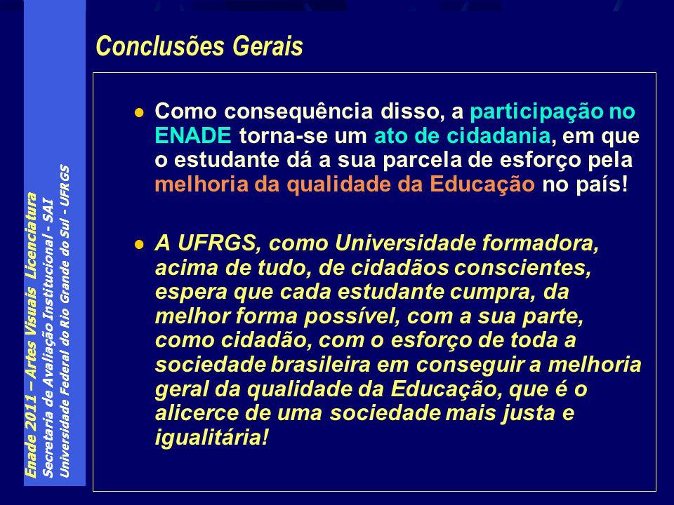 Enade 2011 – Artes Visuais Licenciatura Secretaria de Avaliação Institucional - SAI Universidade Federal do Rio Grande do Sul - UFRGS Como consequênci