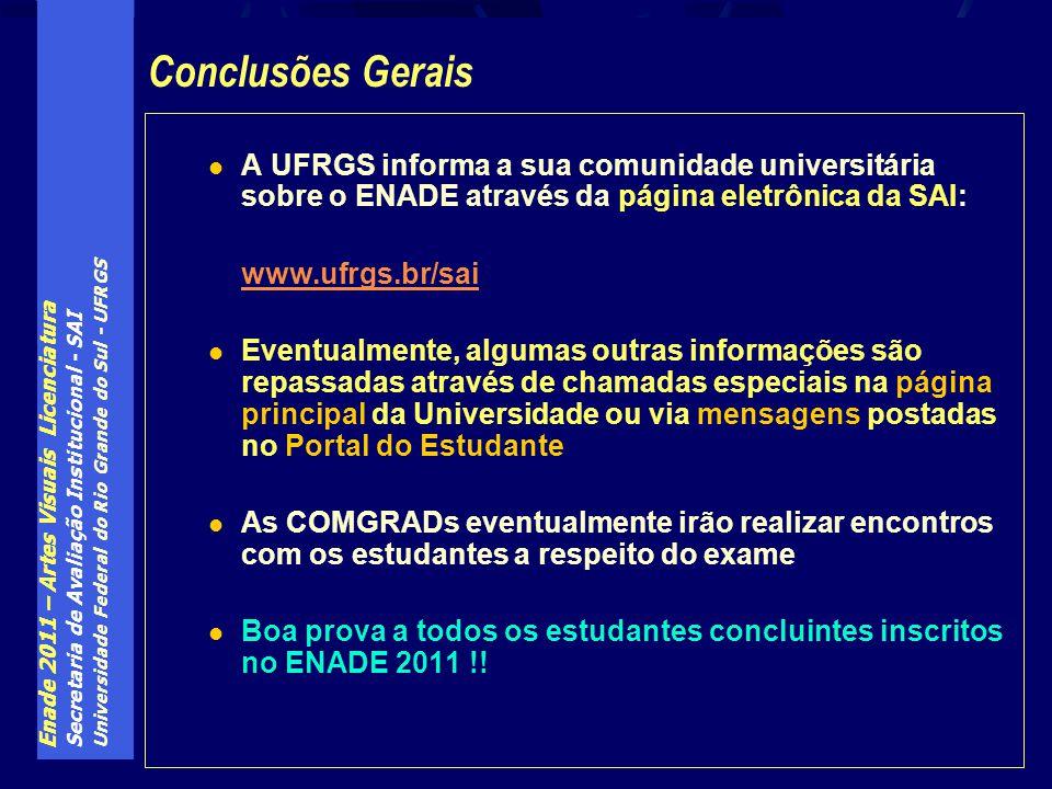 Enade 2011 – Artes Visuais Licenciatura Secretaria de Avaliação Institucional - SAI Universidade Federal do Rio Grande do Sul - UFRGS A UFRGS informa