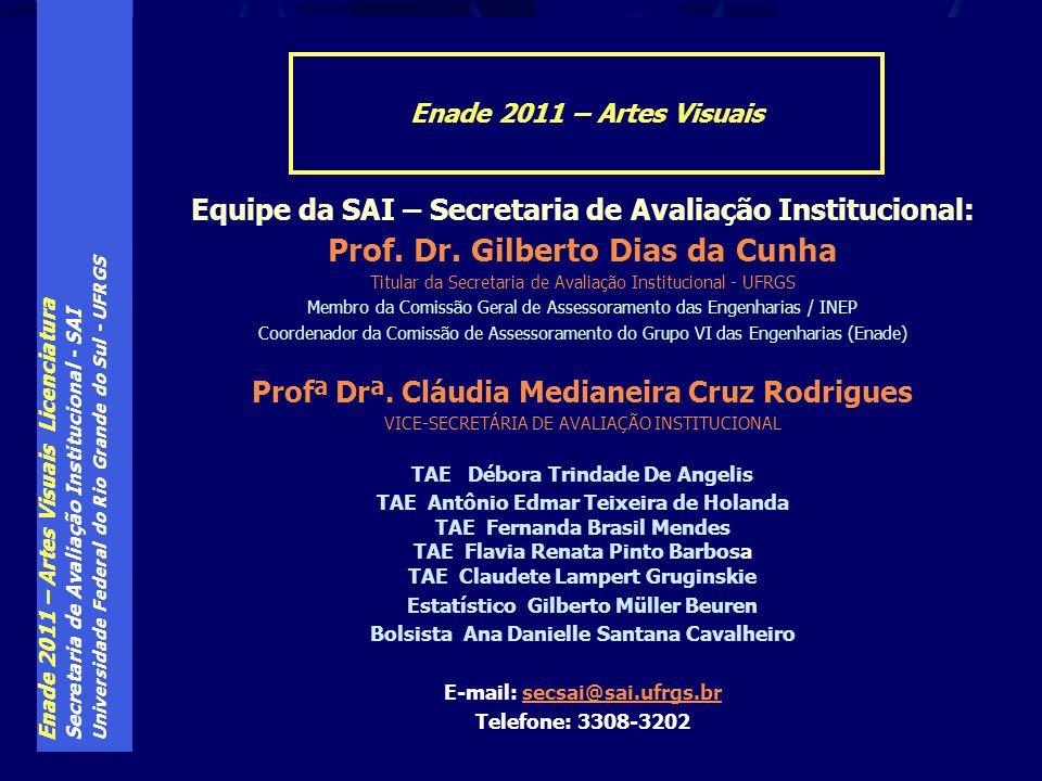 Enade 2011 – Artes Visuais Licenciatura Secretaria de Avaliação Institucional - SAI Universidade Federal do Rio Grande do Sul - UFRGS Equipe da SAI –