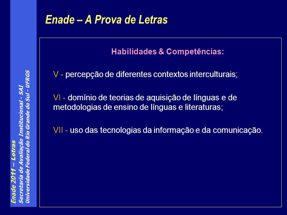 Habilidades & Competências: V - percepção de diferentes contextos interculturais; VI - domínio de teorias de aquisição de línguas e de metodologias de ensino de línguas e literaturas; VII - uso das tecnologias da informação e da comunicação.