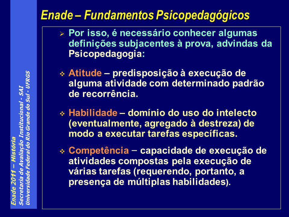 Por isso, é necessário conhecer algumas definições subjacentes à prova, advindas da Psicopedagogia: Atitude – predisposição à execução de alguma ativi