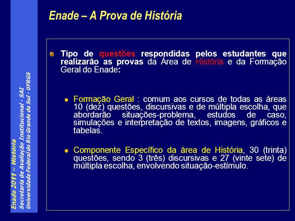 Tipo de questões respondidas pelos estudantes que realizarão as provas da Área de História e da Formação Geral do Enade: Formação Geral : comum aos cu