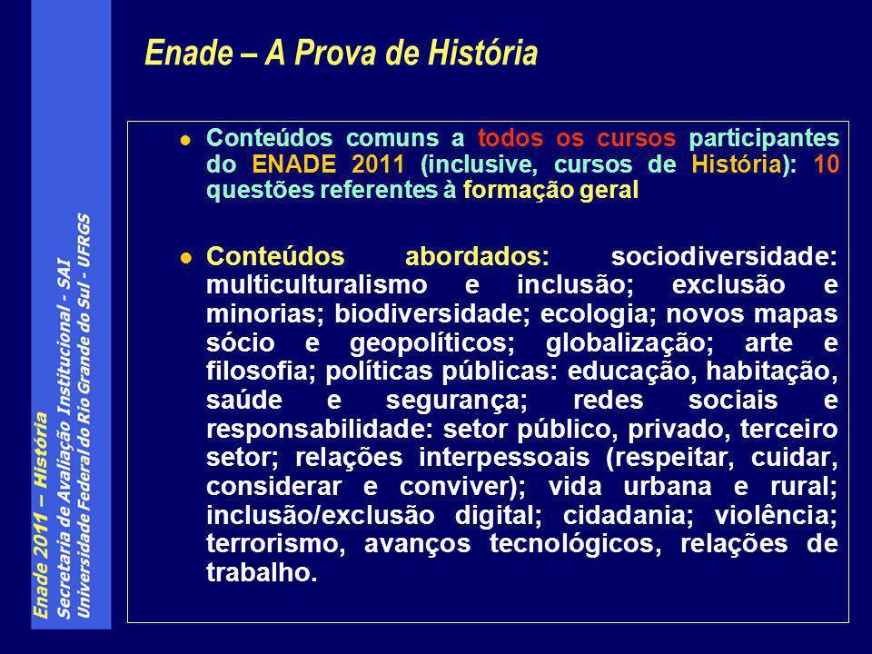Conteúdos comuns a todos os cursos participantes do ENADE 2011 (inclusive, cursos de História): 10 questões referentes à formação geral Conteúdos abor