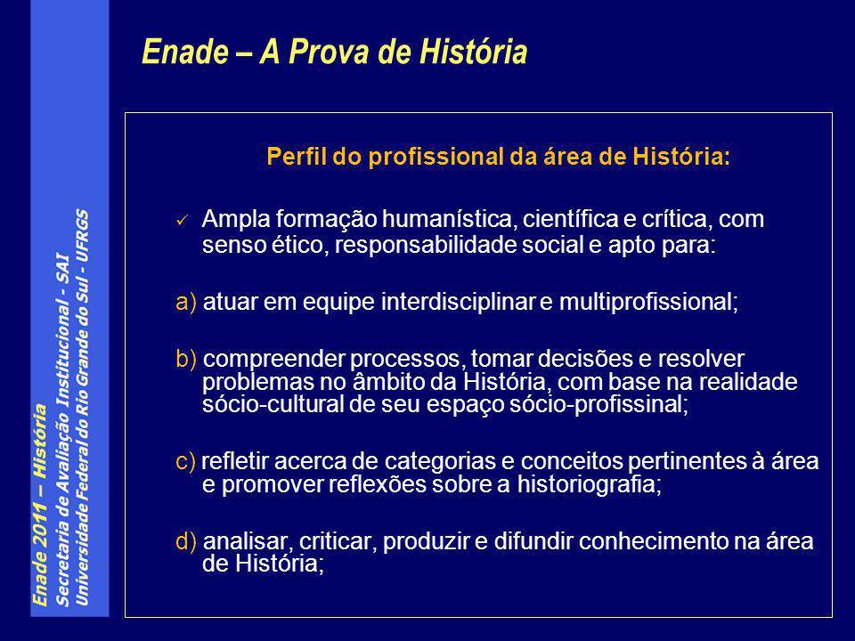 Perfil do profissional da área de História: Ampla formação humanística, científica e crítica, com senso ético, responsabilidade social e apto para: a)