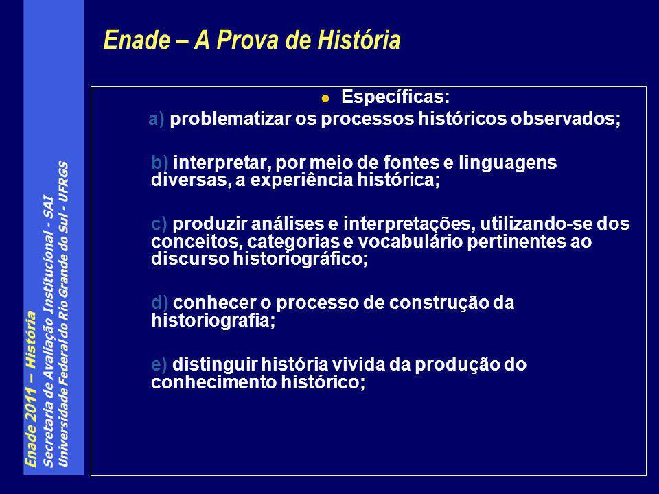 Específicas: a) problematizar os processos históricos observados; b) interpretar, por meio de fontes e linguagens diversas, a experiência histórica; c