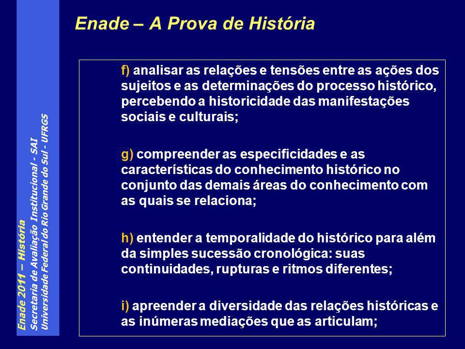 f) analisar as relações e tensões entre as ações dos sujeitos e as determinações do processo histórico, percebendo a historicidade das manifestações s