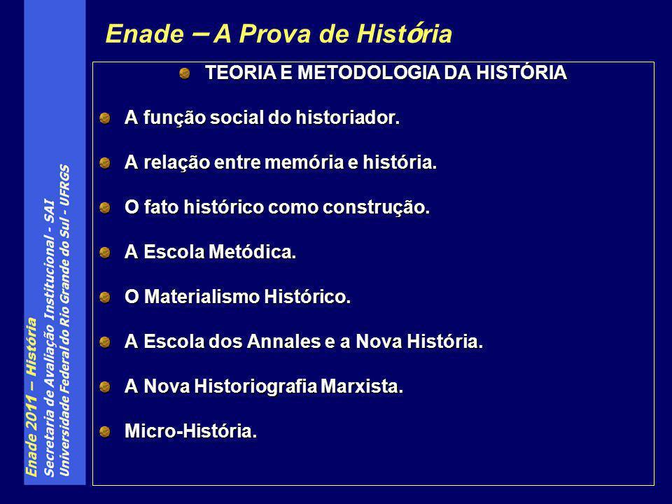 TEORIA E METODOLOGIA DA HISTÓRIA A função social do historiador. A relação entre memória e história. O fato histórico como construção. A Escola Metódi