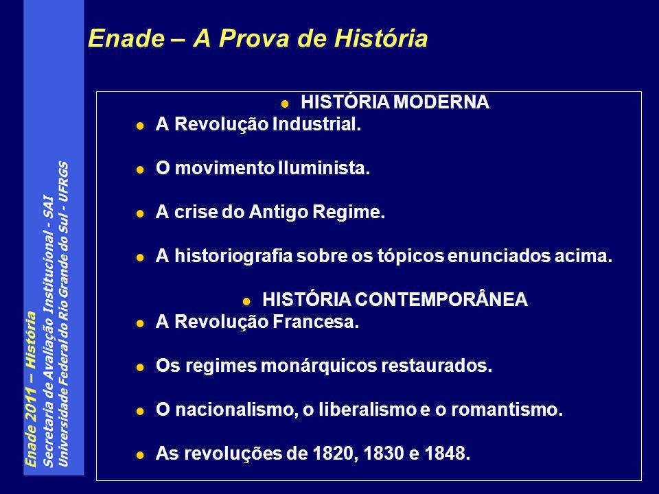 Enade – A Prova de História HISTÓRIA MODERNA A Revolução Industrial. O movimento Iluminista. A crise do Antigo Regime. A historiografia sobre os tópic