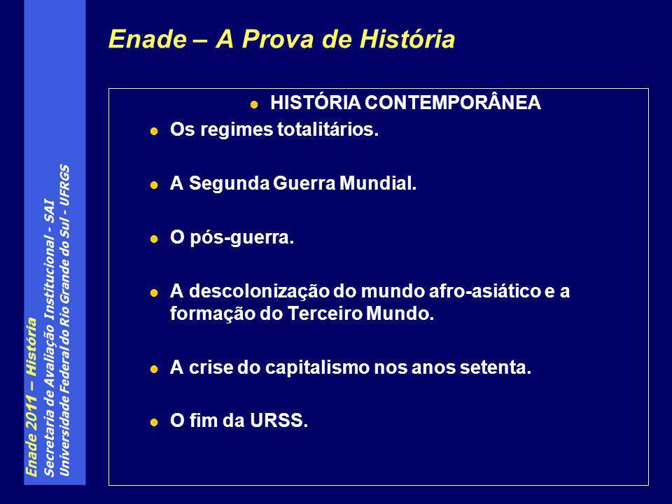 Enade – A Prova de História HISTÓRIA CONTEMPORÂNEA Os regimes totalitários.