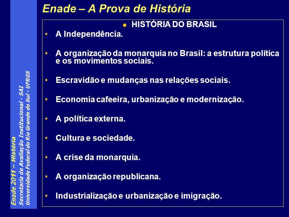 HISTÓRIA DO BRASIL A Independência. A organização da monarquia no Brasil: a estrutura política e os movimentos sociais. Escravidão e mudanças nas rela