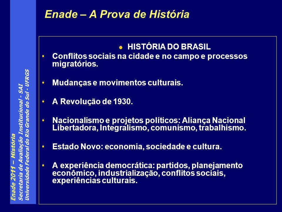HISTÓRIA DO BRASIL Conflitos sociais na cidade e no campo e processos migratórios. Mudanças e movimentos culturais. A Revolução de 1930. Nacionalismo